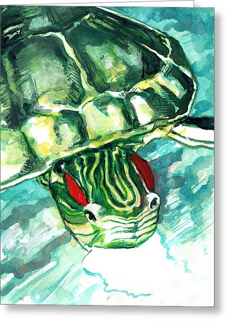 Greeting Card featuring the painting A Turtle Who Likes To Eat Fish by Rene Capone