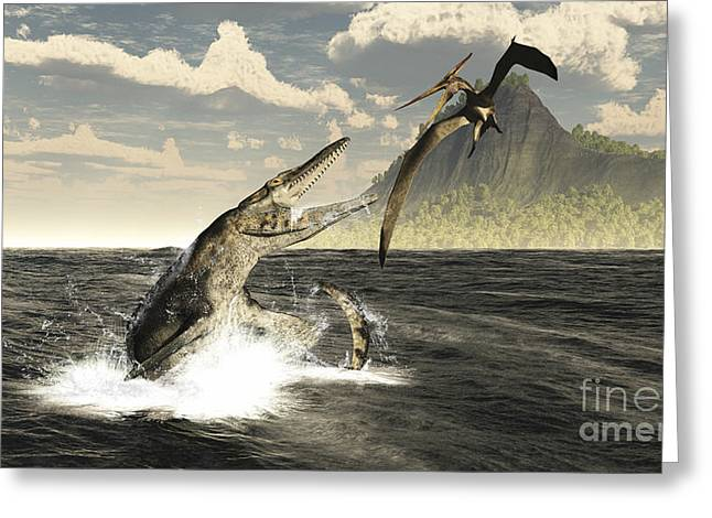 A Tylosaurus Jumps Out Of The Water Greeting Card by Arthur Dorety