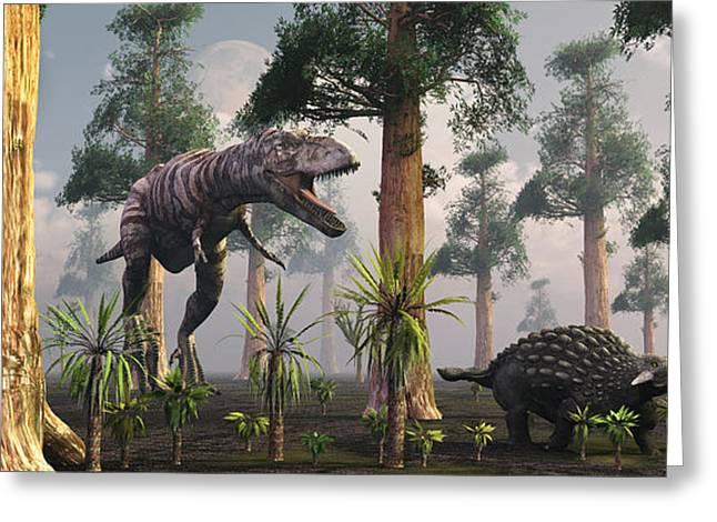 A Tyrannosaurus Rex Tracking Greeting Card by Mark Stevenson