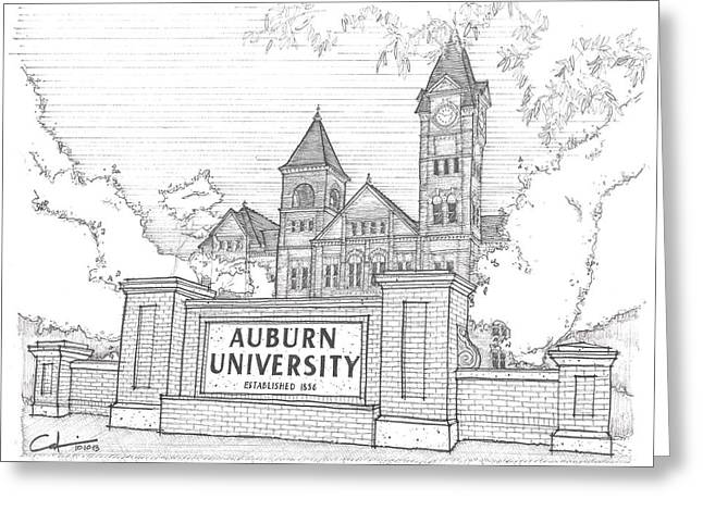 Greeting Card featuring the drawing A U by Calvin Durham