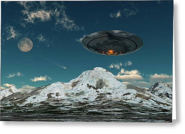 A Ufo Flying Over A Mountain Range Greeting Card by Mark Stevenson