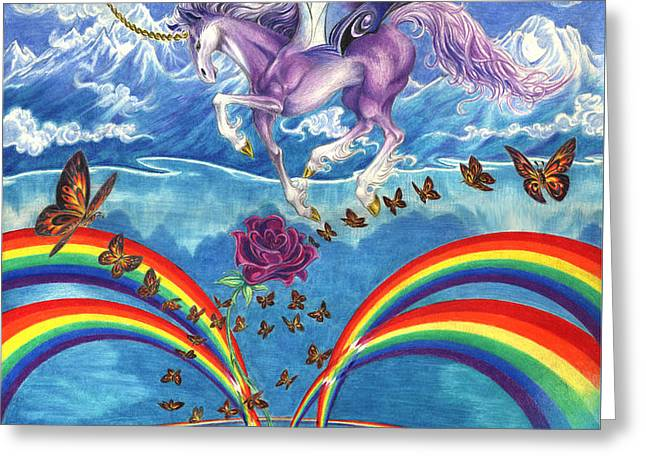 A Unicorn's Love Greeting Card by Barry Munden
