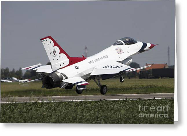 A U.s. Air Force F-16 Thunderbird Jet Greeting Card by Timm Ziegenthaler