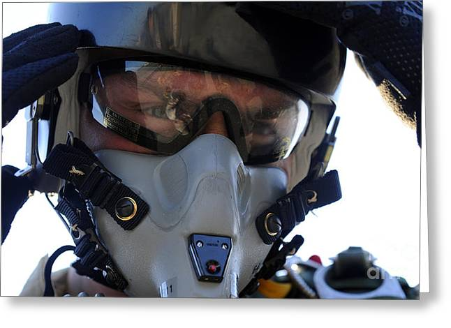 A U.s. Airman Secures His Oxygen Mask Greeting Card by Stocktrek Images