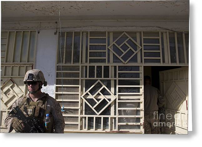 A U.s. Marine Provides Security Greeting Card by Stocktrek Images