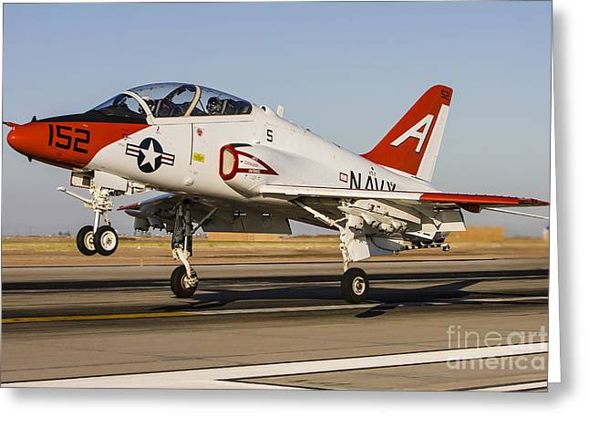 A U.s. Navy T-45 Goshawk Taking Off Greeting Card by Rob Edgcumbe