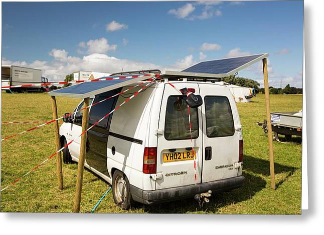 A Van With Solar Panels Attached Greeting Card by Ashley Cooper