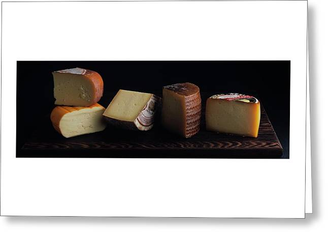 A Variety Of Cheese On A Cutting Board Greeting Card