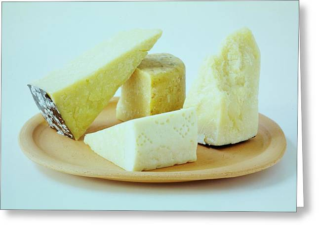 A Variety Of Cheese On A Plate Greeting Card