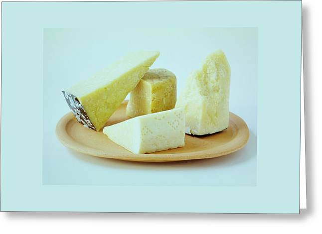 A Variety Of Cheese On A Plate Greeting Card by Romulo Yanes