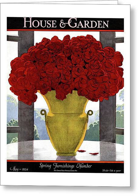 A Vase With Red Roses Greeting Card