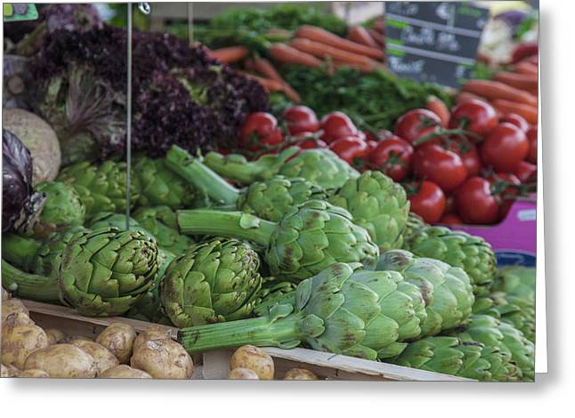 A Vegetable Stand In The Outdoor Market Greeting Card by Mallorie Ostrowitz