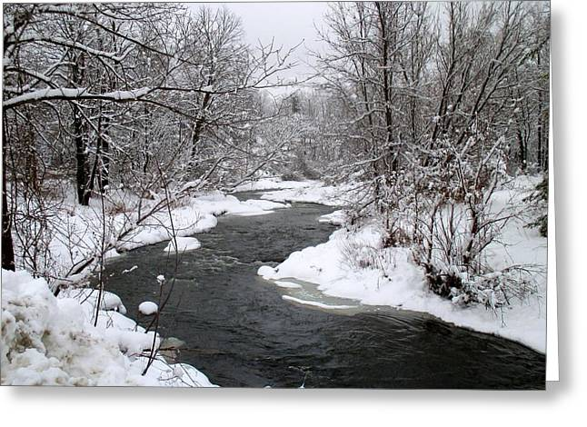 A Vermont Stream In Winter Greeting Card
