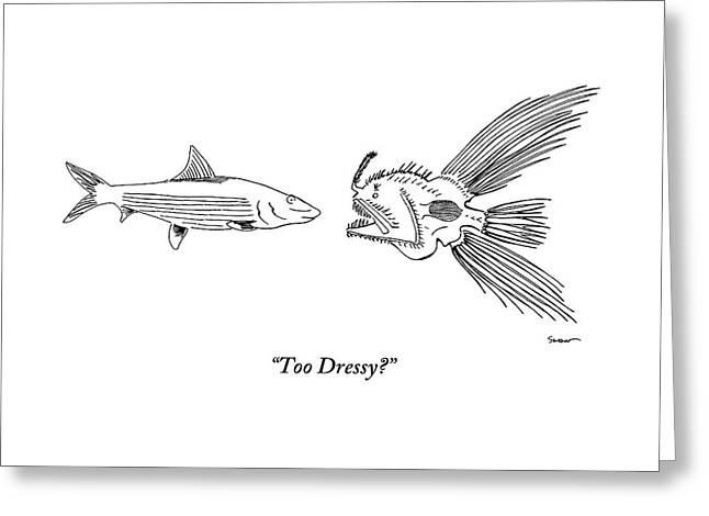 A Very Elaborate-looking Fish Is Seen Speaking Greeting Card