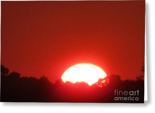 Greeting Card featuring the photograph A Very Hot Sunset by Tina M Wenger