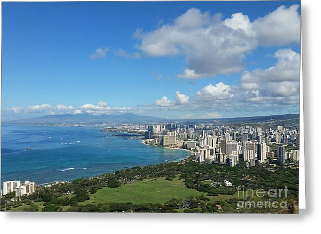 A View From Diamond Head Greeting Card by Lisa Billingsley