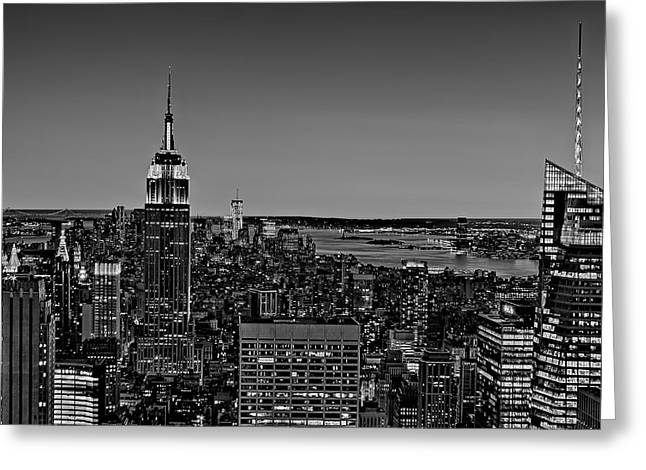 A View From The Top Bw Greeting Card by Susan Candelario