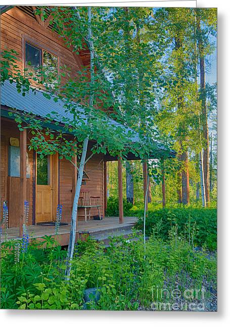 A View Of A Cottage With Aspen Trees Greeting Card