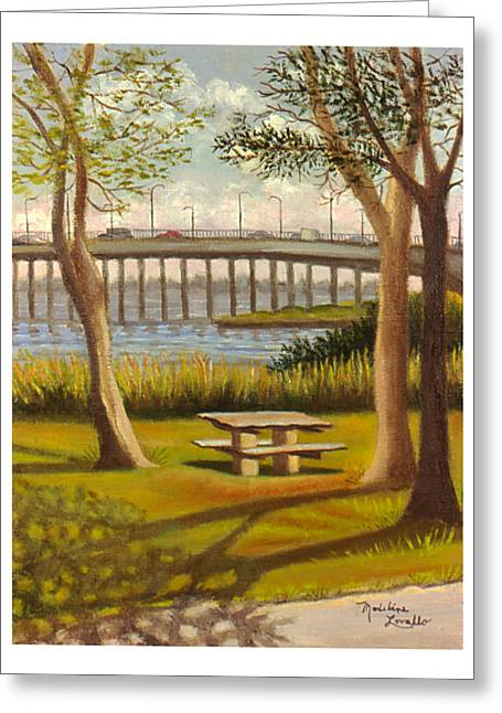 A View Of Crossbay Bridge Greeting Card