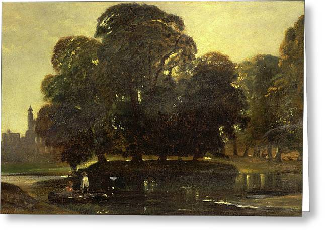 A View Of Eton And The Fellows Eyot, William James Muller Greeting Card by Litz Collection