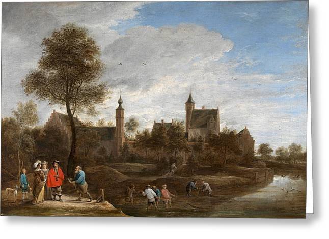 A View Of Het Sterckshof Near Antwerp Greeting Card by David Teniers the Younger