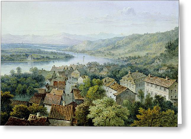 A View Of Karlsruhe Greeting Card by Thomas Sidney Cooper