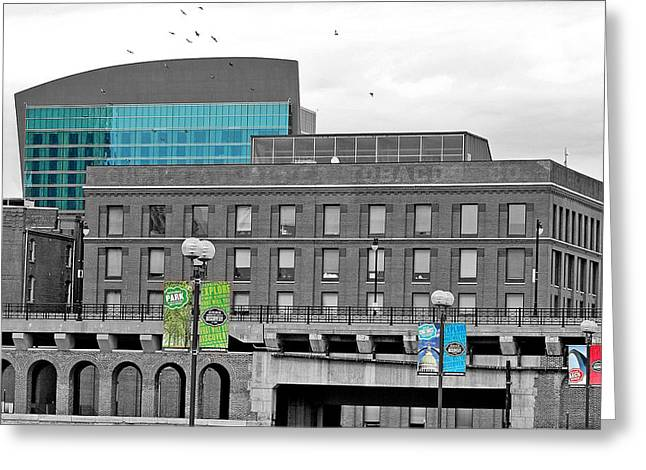 A View Of Laclede's Landing  Greeting Card by Caren Libby