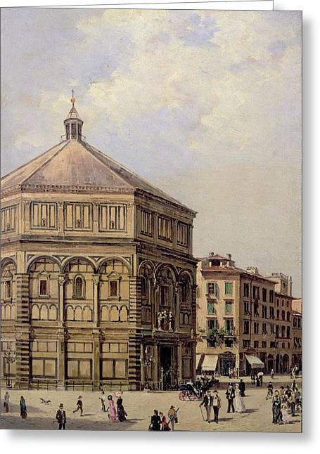 A View Of The Baptistry In Florence Greeting Card by Antonietta Brandeis