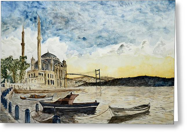 A View Of The Bosphorous Bridge From The Docks Of The Ortakoy Mosque Greeting Card