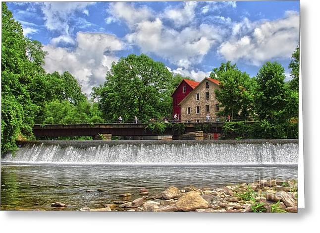 Greeting Card featuring the photograph A View Of The Mill From The River by Debra Fedchin