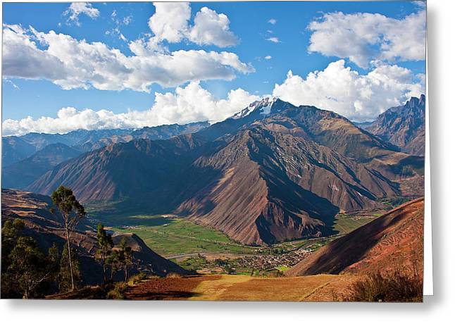 A View Of The Sacred Valley And Andes Greeting Card