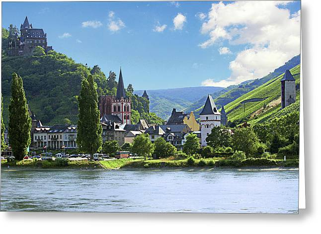 A View Of The Village Of Bacharach Greeting Card by Miva Stock