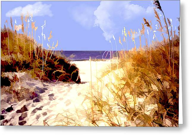 A View Through The Dunes To The Ocean Greeting Card by Elaine Plesser