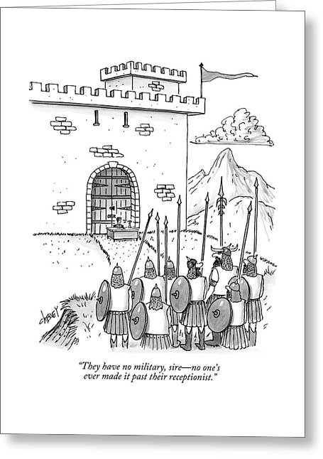 A Viking Army Stands Before A Castle Gate Where Greeting Card