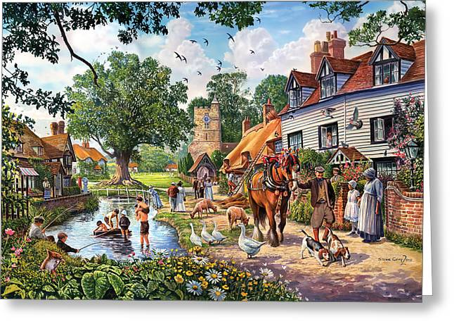 A Village In Summer Greeting Card by Steve Crisp