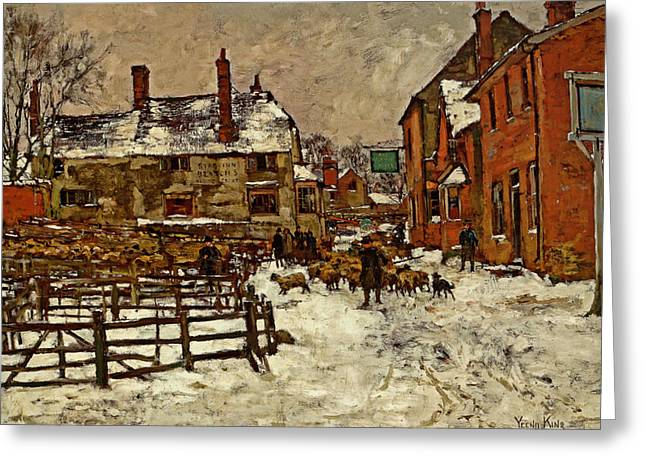A Village In The Snow Greeting Card by Henry King