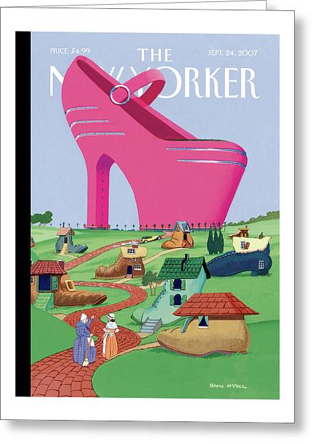 A Village Of Old Shoe And Boot Homes Is Dwarfed Greeting Card