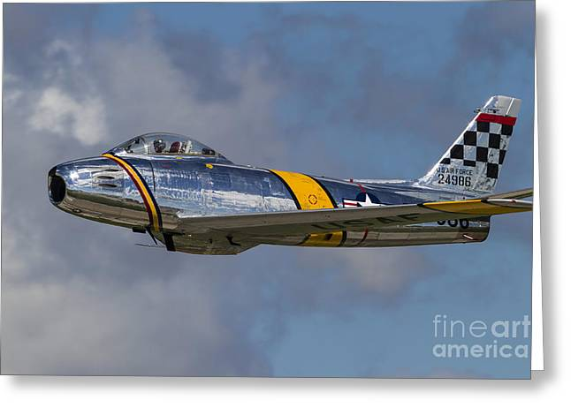 A Vintage F-86 Sabre Of The Warbird Greeting Card by Rob Edgcumbe