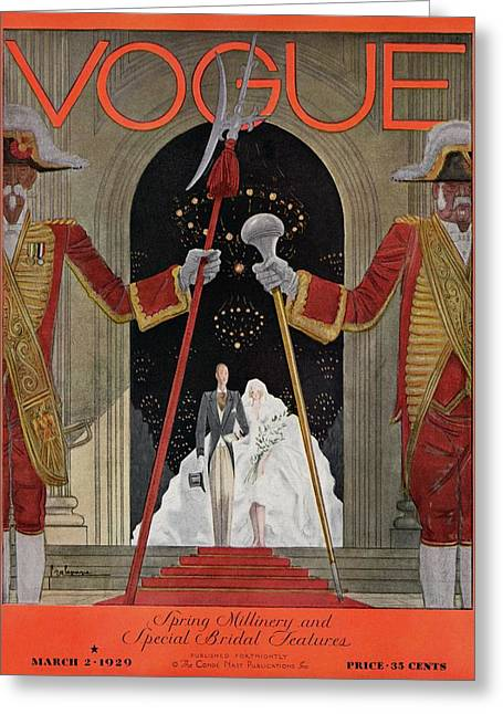 A Vintage Vogue Magazine Cover Of A Father Greeting Card by Georges Lepape