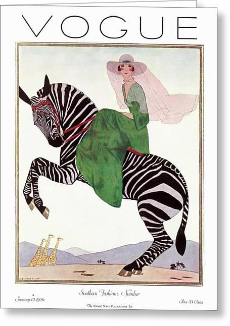 A Vintage Vogue Magazine Cover Of A Woman Greeting Card by Andre E.  Marty