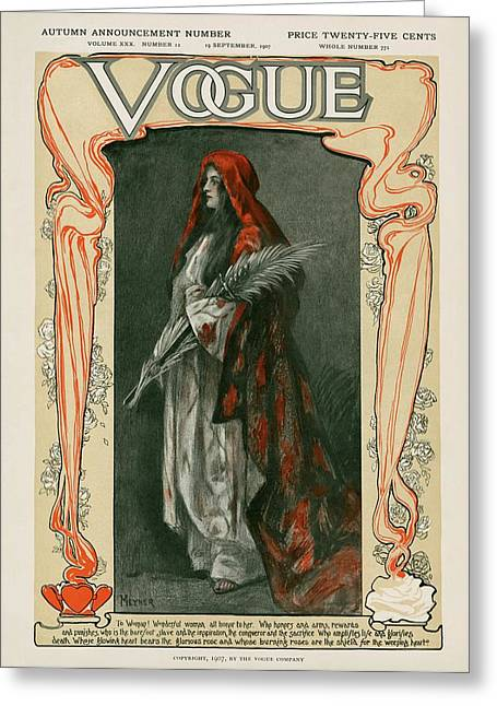 A Vintage Vogue Magazine Cover Of A Woman Greeting Card by Blank Meyner