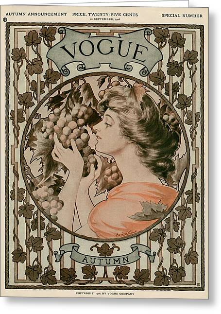 A Vintage Vogue Magazine Cover Of A Woman Greeting Card by Hugh Stuart Campbell
