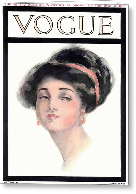 A Vintage Vogue Magazine Cover Of A Young Woman Greeting Card by Helen Dryden