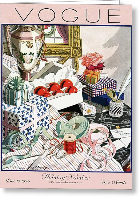 A Vintage Vogue Magazine Cover Of Christmas Gifts Greeting Card by Allen Saalburg