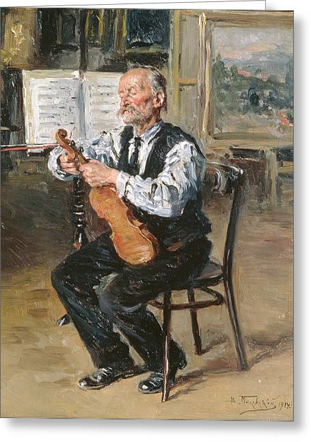 A Violin Maker, 1914 Oil On Panel Greeting Card