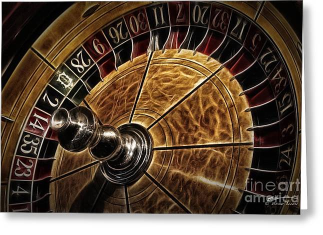 Greeting Card featuring the photograph A Virginia City Roulette Wheel by Brad Allen Fine Art