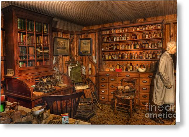 A Visit To The Doctor's Office - Old Time Physician Office - Doctors - Pharmacists - Opticians Greeting Card by Lee Dos Santos