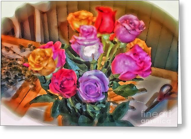 A Vivid Rose Bouquet For You Greeting Card by Thomas Woolworth