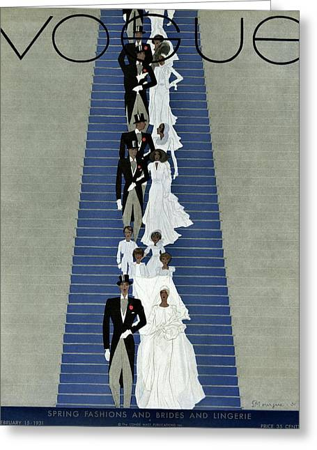 A Vogue Cover Of A Wedding Party Greeting Card by Pierre Mourgue