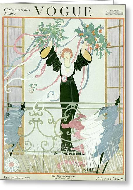 A Vogue Cover Of A Woman Above A Parade Greeting Card by Helen Dryden